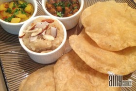 POORI WITH ALOO BHAJI AND CHANA GRVEY