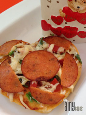 HEART SHAPE PEPARONI PIZZA