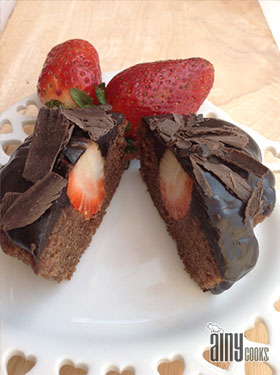 RICH CHOCOLATE CUPCAKES WITH STRAWBERRY CENTERS